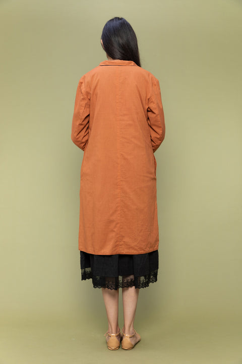 Coordinate Set- Black Textured Cotton Dress with Lace & Reversible Jacket in Terracotta Brown  (Set of 2))