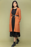 Coordinate Set- Black Textured Cotton Dress with Lace & Reversible Jacket in Terracotta Brown(Set of 2))