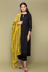 Black Textured Cotton Kurta & Pants with Chanderi Dupatta in Lime (Set of 3)