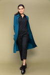 Coordinate Set- Black Cotton Jumpsuit with Cotton Shirt Jacket in Teal Blue (Set of 2)