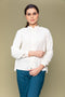 Off White Handloom Cotton Ruffle Shirt