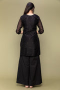 Black Chanderi Handloom Kurti With Box Pleat