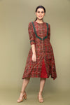 Maroon Flared Dress in Hand block Printed Cotton