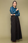 Co-ordinates- Teal Blue Chanderi Handloom Shirt with Balloon Sleeves and Black Cotton Flared Pants (Set of 2)