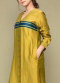 Chanderi Handloom Silk Shirt Kurta & Cotton Palazzo with Lace in Lime Yellow (Set of 3)