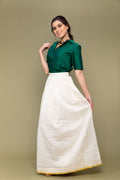 Coordinates- Forest Green Crop Shirt in Handwoven Cotton  & Chanderi Handloom Skirt in Off-White (Set of 2)