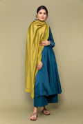 Teal Blue Anarkali Chanderi Handloom Kurta with Cotton Palazzo & Chanderi Dupatta in Lime Yellow(Set Of 3)