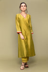 Lime Chanderi V neck kurta with lace details & cotton pants