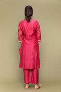 Fuchsia Pink Chanderi Handloom Straight Fit Kurta & Pants (Set of 2)