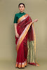 Crimson Red Handloom Chanderi Saree with Dual Border