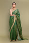 Tissue Saree in Fern Green with Zari Stripes (Handloom)