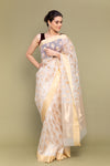 White & Gold Handloom Silk Saree with Meenakari