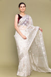 White & Silver Handloom Silk Saree with Meenakari