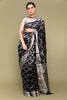 Black & Silver Handloom Silk Saree with Jaal Work