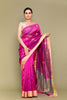 Carnation Pink Handloom Silk Saree with Silver Motifs