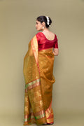 Caramel Yellow Handloom Silk Saree with Jacquard Border