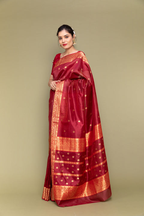 Ruby Red Handloom Silk Saree with Jacquard Border