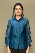Teal Blue Chanderi Handloom Shirt with Balloon Sleeves