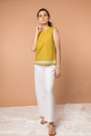 Sleeveless Top with fringes in Ochre Yellow cotton