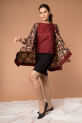 Coordinate Set-Maroon handloom cotton Top with Flared Jacket in hand block print cotton (Set of 2)