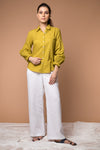 Shirt with puff sleeves in Ochre Yellow cotton