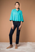 Crop Shirt with Kimono Sleeves in Aqua Blue cotton