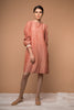 Shift dress with lace in Coral handwoven cotton from Sambalpur