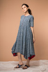 Cotton Dress with waterfall hem in Indigo hand block print