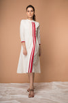 Wrap Dress with pintucks in Off white handwoven Sambalpur cotton