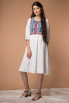 Printed yoke Dress in White cotton