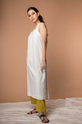 Cotton Razer back Kurta with Kantha embroidery and Pant in White & Ochre Yellow (Set of 2)