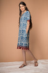 Shift Dress with tassels in Indigo hand block print cotton