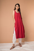 Cotton Razer back Kurta with Kantha embroidery and Pant in Cranberry Red & White (Set of 2)