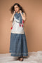 V-neck long Shirt with gathered flare Skirt, Square scarf in White & Indigo Hand block printed cotton (Set of 3)