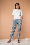 Straight fit Pant in Indigo blue hand block printed cotton