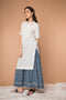 Straight Kurta with gathered flare Skirt in White & Indigo hand block printed cotton (Set of 2)