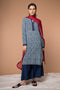 Straight- fit Kurta in Indigo Hand block printed cotton and Navy Palazzo with georgette ruffles dupatta in Red (Set of 3)