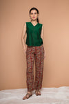 Cotton straight Pants in Maroon Hand block print