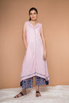 Asymmetric hem cotton kurta in Blush Pink with block print Palazzo in Indigo & Pink (Set of 2)