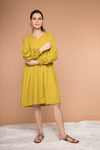 Pleated Dress with balloon sleeves in Ochre Yellow cotton