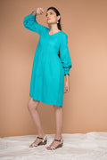 Pleated Dress with balloon sleeves in Aqua Blue cotton