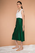 A-line skirt in handwoven Sambalpur cotton in Dark forest green