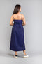 Ankle length strap dress in Midnight Blue handwoven cotton