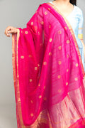 Chanderi Mercerised Silk Dupatta in Pink Lemonade