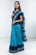 Chanderi Saree in Turquoise & Navy Blue