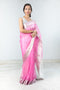Chanderi Silk Sari in Hot Pink & Silver
