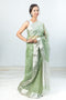 Chanderi Silk Sari in Dark Sea Green
