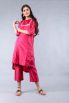 Hand embroidered Chanderi High & Low Kurta with pants in Fuchsia (Set of 2)