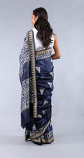 Chanderi Sari in Midnight Blue