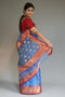 Chanderi Silk Sari in Steel Blue & Red